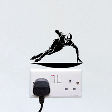 Ice Speed Skating Fashion Vinyl Wall Stickers Decor Light Switch Decals 5WS1411