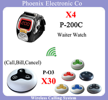 Queue Wireless Calling System For Restaurant With 4pcs Waiter Pager Watch And 30pcsTable Bell Button(China)