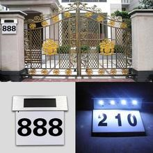 Solar LEDs House Number Light Metal Luminous Doorplate Door Plate Wall Lamp