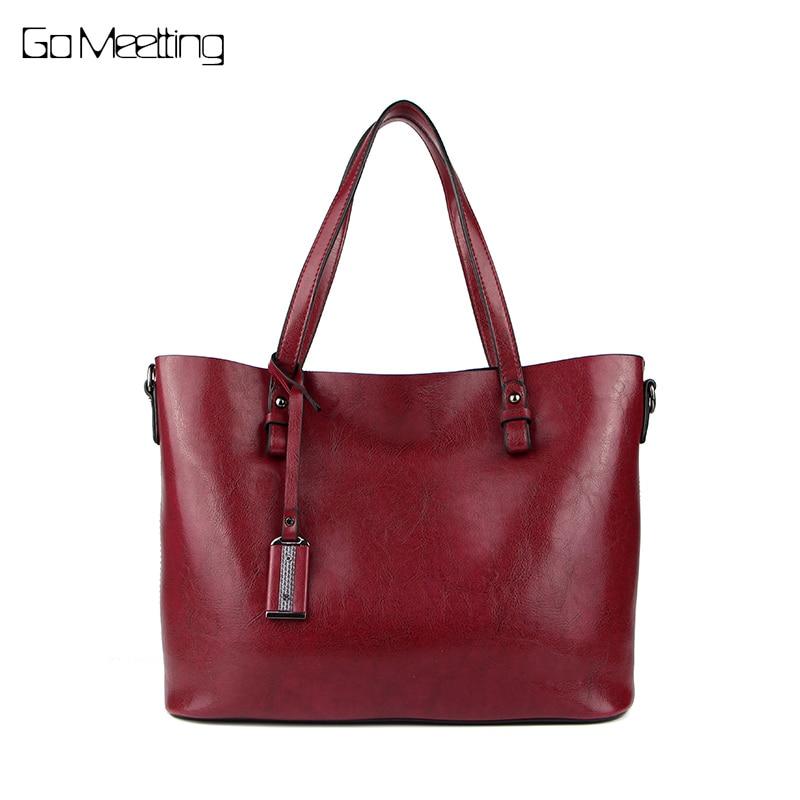 Go Meetting leather bag women messenger bags big tote luxury handbags women bags designer shoulder bags famous brands bolsos<br>