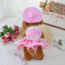 Pet Dog dresses Clothes Set Puppy dogs Dress + Harness Leash Collar + Hat Headwear + Physiological Sanitary Panty(China)