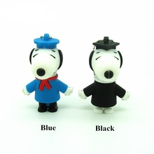 metal chain real capacity cartoon gentleman dog usb flash drive cute pendrive black blue pen drive usb 2.0 4GB 8GB 16GB 32GB(China)