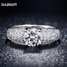 Buy SHUANGR Vintage Anillos Silver Color Zircon Fashion Jewelry Rings Women Engagement Wedding Ring Bague Bijoux Aros for $1.43 in AliExpress store
