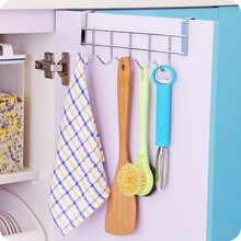 Stainless Steel Bathroom Kitchen Organizer Hanger Hooks With 5-Hook Towel Hat Coat Clothes Cabinet Draw Door Wall Hooks K0211(China)