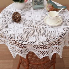 Modern Handmade crochet white table cloth towel cover Christmas lace cotton round kitchen tea tablecloth placemat wedding decor
