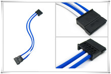 Molex 4Pin to Sata connector adapter /extension cable with Blue and White sleeving---400mm