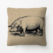 Rustic Vintage Line Art Pig Throw Pillow decorative Cushion Cover Pillow Case Customize Gift By Lvsure For Bedroom Pillowcase