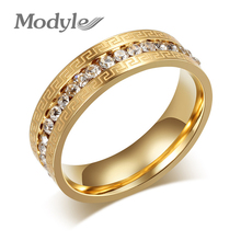 Modyle Brand Gold Rings for Women Vintage Charms Austrian Crystal Wedding Ring Stainless Steel Jewerly(China)