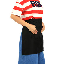 Unisex Man Woman Black Half Waist Short Aprons With Double Pockets For Home Kitchen Pub Cafe Waiter Waitress  Chef /Waiter