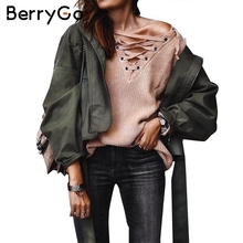 BerryGo Fashion sash basic jacket coat outerwear & coats Casual motorcycle jacket female coat 2017 autumn winter jacket women(China)
