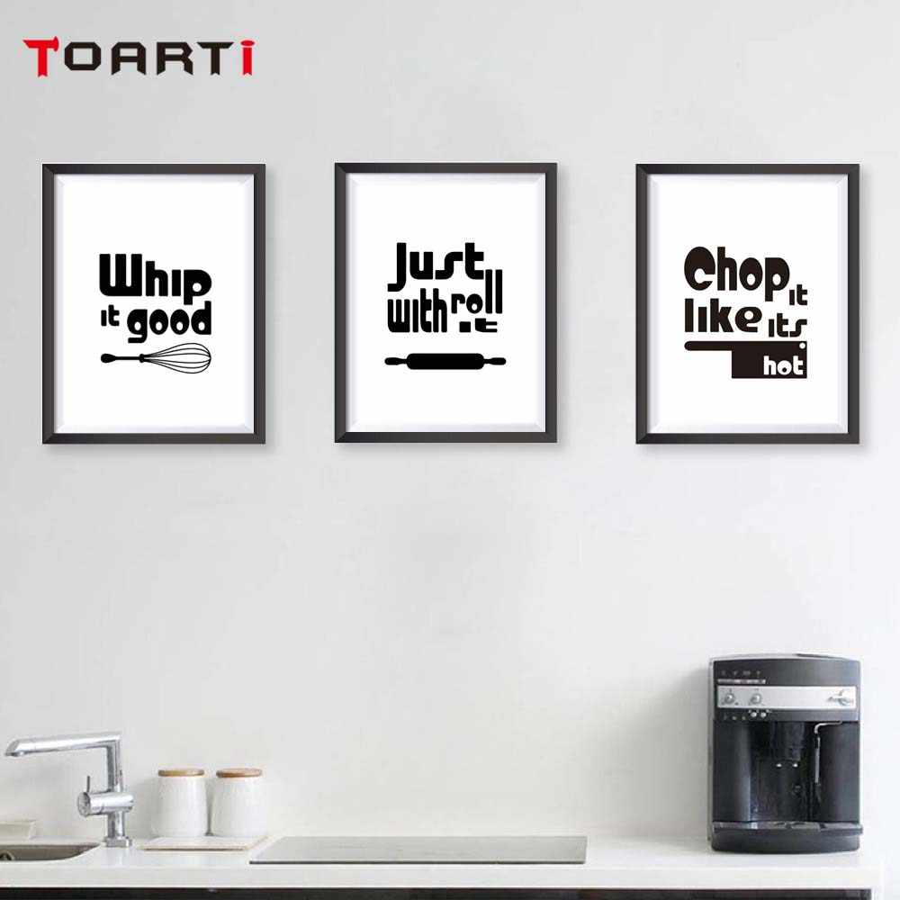 Detail feedback questions about modern black white kitchen quotes a4 posters nordic kitchen living room wall art picture home decor canvas painting on