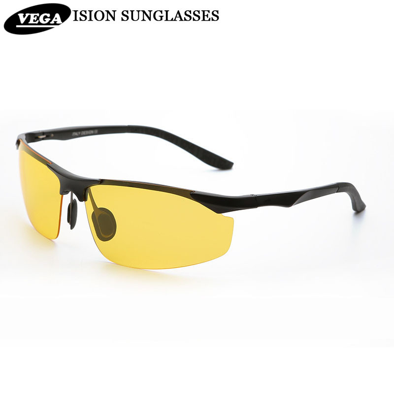 VEGA Cool Polarized Driving Sunglasses For Men Top Rated Day Night Driver Glasses Semi-rimless Alloy Frame Yellow Lenses 2206<br><br>Aliexpress