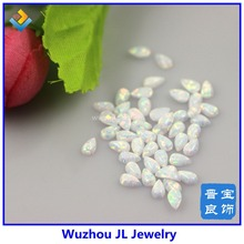 (50pcs/lot) 4*6mm Synthetic snow white OP17 color Opal Cabochon pear opal stone with cheap price in stock