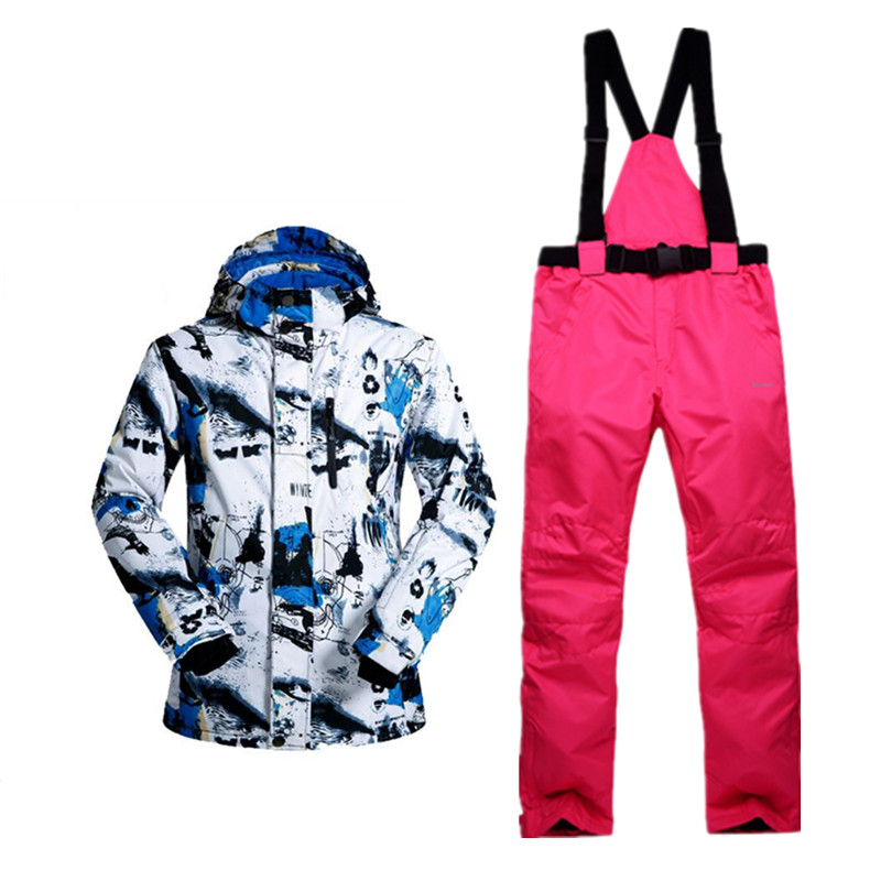 New outdoor Ski Suit men snowboard sets men waterproof breathable thermal cotton super warm Ski wear jacket Skating Clothes(China)