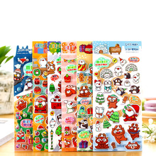 24 pcs/Lot Merry christmas sticker Santa claus & Sweet bear foam stickers Decorative Gift Stationery School supplies F128