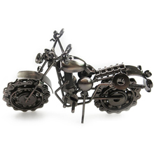 Hand Soldering Wrought Iron Motorcycle Model Bronze Tone Metal Moto Simple Modern Home Decor Ornaments Toys For Kids Children