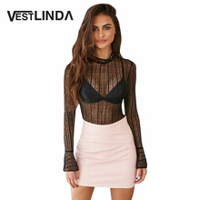 VESTLINDA Sexy Club Blouse See-Through  Lace Blouse Women Tops O Neck Blusas Pullover Flare Sleeve Night Party Ladies Blouse