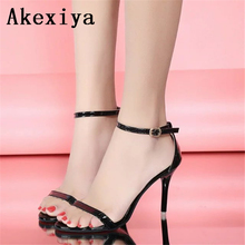 Ms. Akexiya summer high heels with sandals sexy black gold dew toe simple High Heels Sandals 034