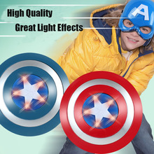 Cheapest! Newest! The Avengers Captain 32CM America Shield Light-Emitting & Sound Cosplay property Toy Metallic shield Red/Blue(China)