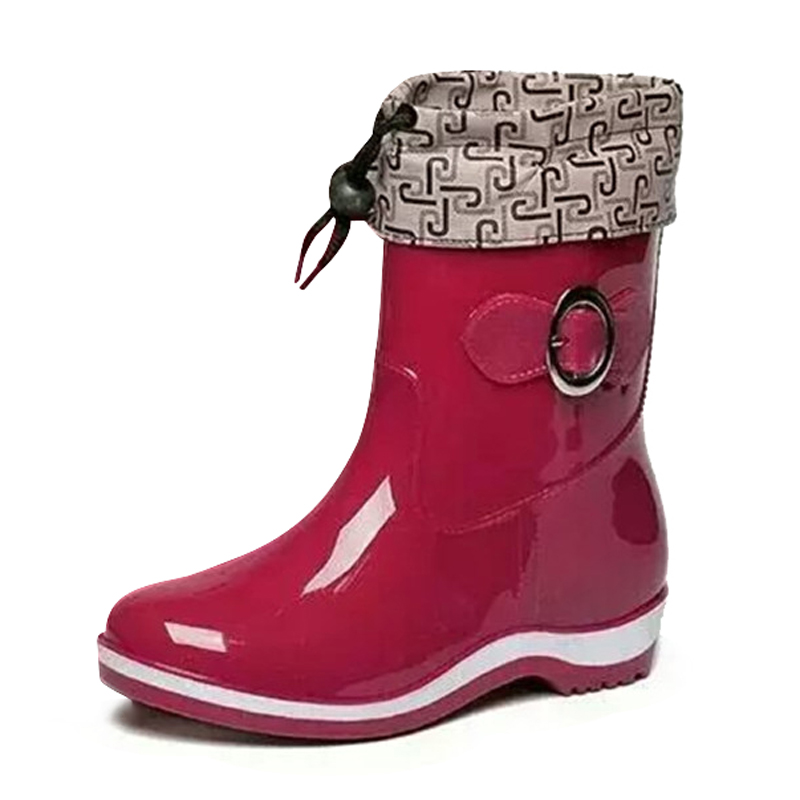 Spring autumn Rain Boots Rubber Women Ankle Boots Casual Platform Shoes Woman Warm Flats Women Shoes Size 36-40<br><br>Aliexpress