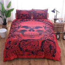 Skull Duvet Cover Set Fantasy Quilt cover set 3D Skull Bedding Set Twin/Queen /King size bedding set(China)
