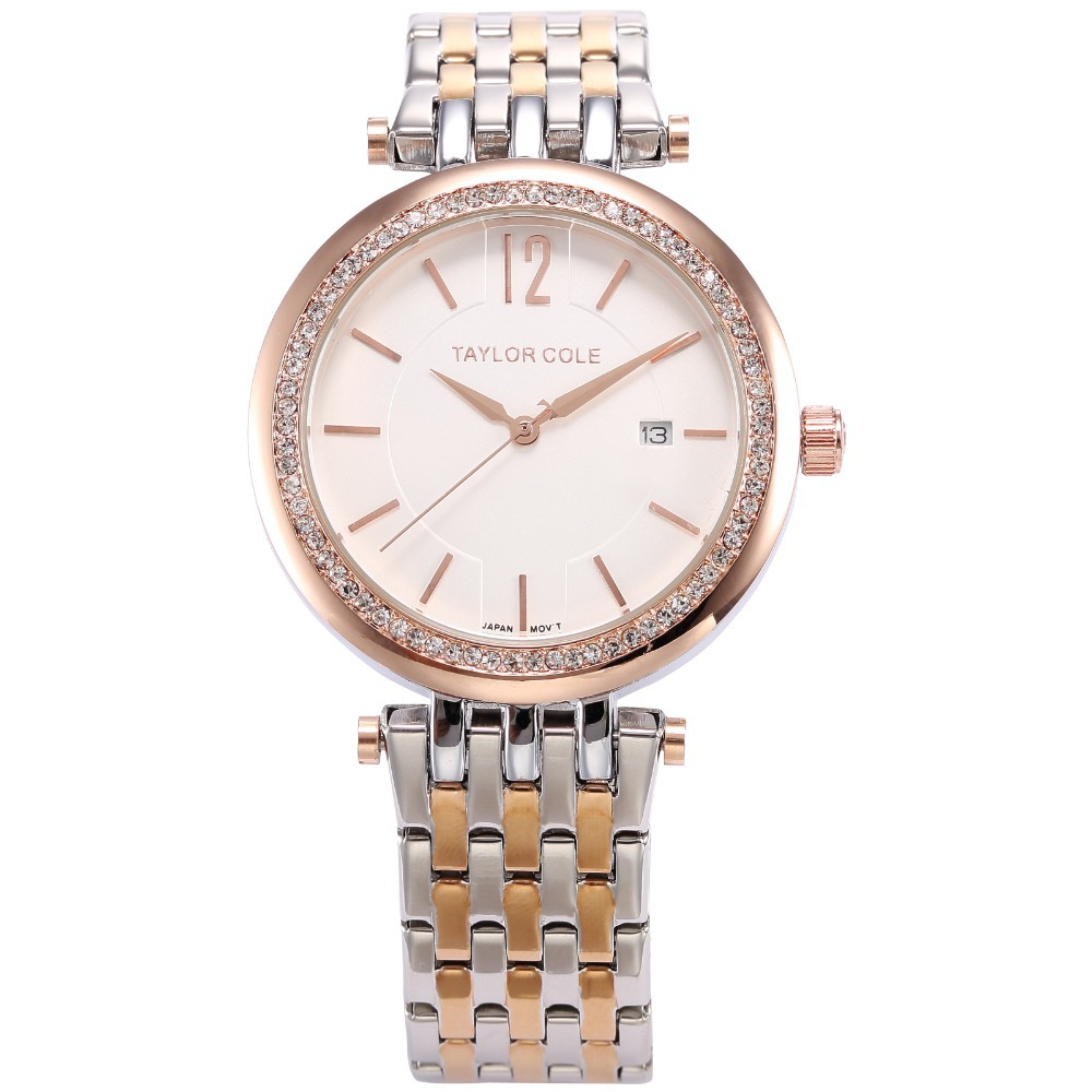Taylor Cole Hodinky Women Bracelet Watch Auto Date Rose Gold Silver Stainless Steel Strap Lady Rhinestone Muse Gift Watch/TC013<br>
