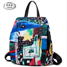 Original Design Color Female Bag Personality National Women Travel Backpack Lady Printing Rucksack Brand Graffiti Knapack A742(China)
