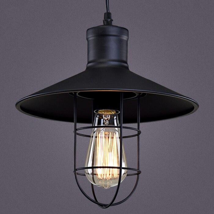 Cage Pendant Light E27Base hat Vintage industrial style Black Color Iron Cafe club bar restaurant lighting<br>