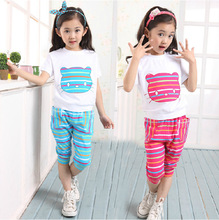 Top quality 2pcs toddler big girls summer clothing sets hello kitty short sleeve t shirt + fashion pants(China)