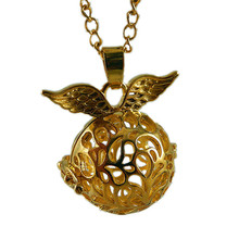 1pcs Lovely Rose Gold  Hollow Angel Wings-Ball Shape Necklace Fragrance Essential Oil Locket Charms Pendant Necklace Lover Gift