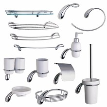Chrome Hardware Bathroom Accessories Set Brass Liquid Soap Dispenser Towel Rail Ring Coat Hook Toilet Paper Holder Glass Shelf