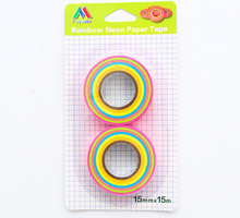 2pcs/set Lovely rainbow neon Washi Tape DIY decoration Scrapbooking Sticker Label Masking Tape School Office Supply(China)