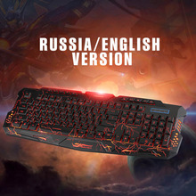 Russian Version Red/Purple/Blue Backlight LED Pro Gaming Keyboard M200 USB Wired Powered Full N-Key for LOL Computer Peripherals(China)