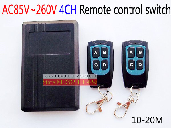 AC110V 220V RF wireless remote control switch  315MHZ/433mhz  4ch remote switch  have 2pcs transmitter and wateproof<br><br>Aliexpress