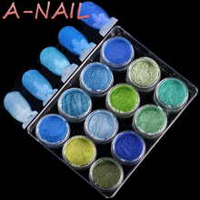 Blue Green Retro colors Gradient Nail Glitter Pigment Powders Pretty Shimmer Powder Nail Powder Dust Decoration 12 jars/set(China)