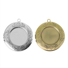 1pc 32mm Inner 24.5mm Brass Round Locket Photo Diffuser Necklace Locket Fashion Pendants For DIY Wedding Jewelry Findings(China)