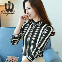 Buy Dingaozlz striped chiffon OL shirt women clothing 2017 Korean fashion chiffon printing long-sleeved chiffon blouse casual tops for $13.61 in AliExpress store