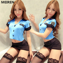 MEIREN Fashion Women Black Sexy Police Costume Cosplay Halloween Costumes for women Fantasia Cosplay Fancy Dress N141
