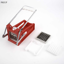 PREUP Hand Push Type Potato Chipper French Fries Slicer Maker Vegetable Fruit Chip Cutting Device Stainless Steel Blade Chopper