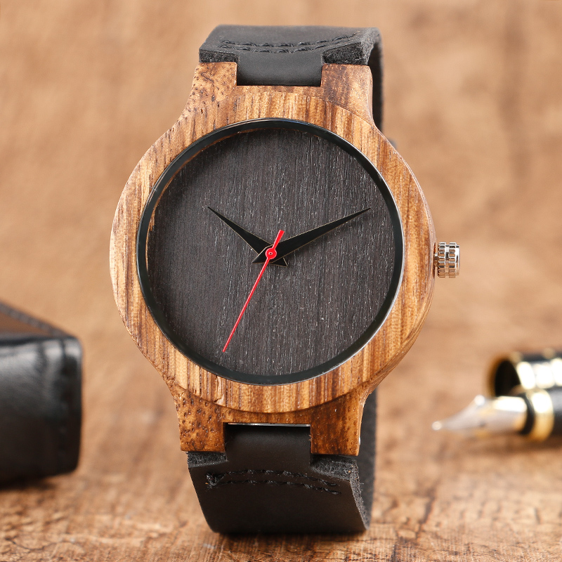 Wood Watches Men's Unique 100% Nature Wooden Bamboo Handmade Quartz Wrist Watch Sport Soft Leather Red Hands Creative Top Gifts