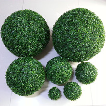 Artificial Green Leaves Grass Ball With Round Leaf For Creative Garden Home Decoration Store Decoration 10CM 15CM 20CM(China)