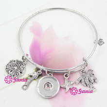 1PC Interchangeable Jewelry Ocean Beach Palm Tree Seahorse Starfish Sand Dollar Charm Wire Bracelet For women For Snap Jewelry(China)