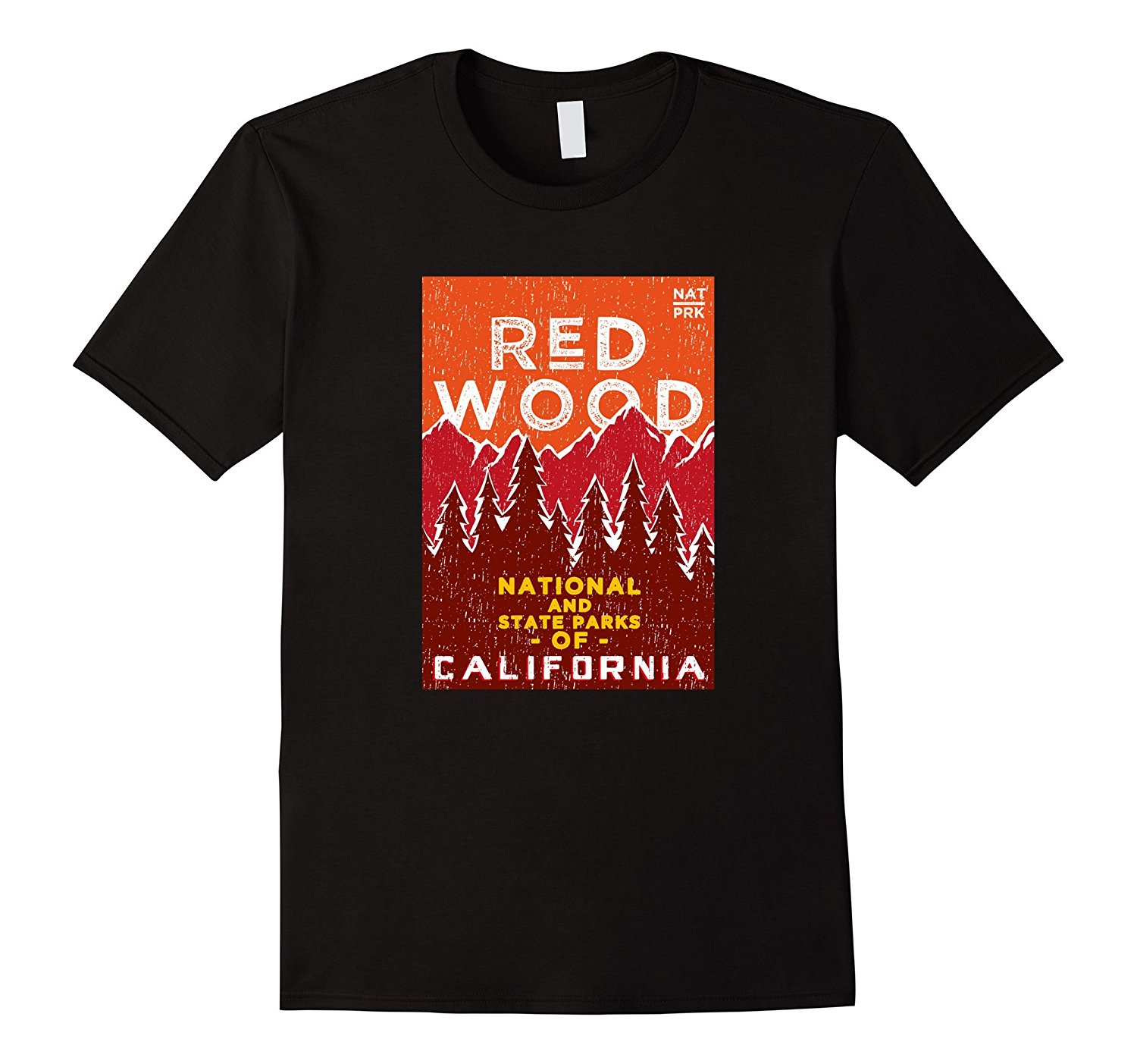 Design Tee Shirt Men's Short Sleeve Printing Machine O-Neck Red Wood - California National Park - Vintage style t shirt(China)