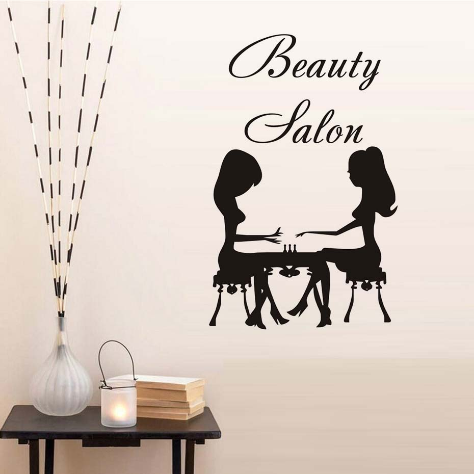 Eyes wall stickers wow modern beauty salon valentine wall decoration - Beauty Salon Care Two Women Manicure Wall Sticker Salon Art Vinyl Removable Wallpaper Living Room Bedroom Decals Home Decor