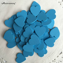 (200pcs/lot) Blue 18mm Mini Wooden Hearts Pieces Decor Ideal Art Craft Card Making Wedding Favor