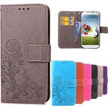 S5 Mini Flip Stand Wallet Style PU Leather +Soft Silicone Flower Printing Card Slots Phone Cover For Samsung Galaxy S5 Mini Case