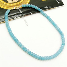 Vintage Classic Natural Stone Jewelry Light Blue Aquamarines Beaded Chain Choker Necklace 46 cm for Women 2016 New