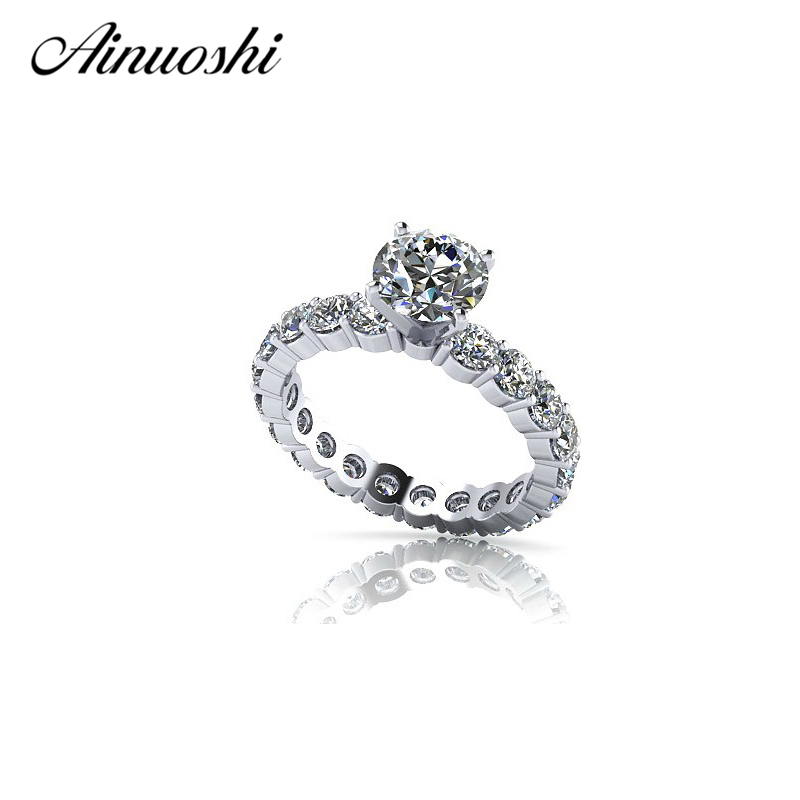 AINOUSHI Solid 925 Sterling Silver Ring Covered Eternity Love Jewelry for Women Round Created Wedding Engagement Rings