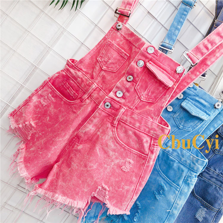 Denim Bibs Schoolgirl 2018 Spring New Loose Korean Thin Thin hole Flashes Fringe Shorts (3)