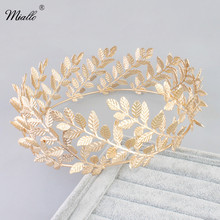 Miallo Luxury gold leaf shape bride crown wedding hair accessories bridal tiara for women TS-J2126(China)